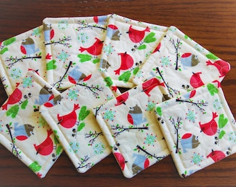 Christmas Quilted fabric coasters, set of eight, drink mats, Christmas robins, cute bird fabric mats