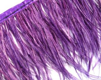 "30cm 4""-6"" Purple Ostrich feather fringe Trim per Feet"