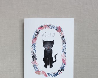 Cat lover Blank note cards, Hello cards, Friendship watercolor cat cards, Blank cards set, Black kitty cards, Thinking of you, Just because