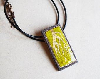 Rectangular green root gold enamelled volcanoes of Auvergne lava pendant