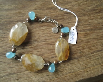 """Sterling Silver Pearl Chalcedony And Quartz Large Stones Link Bracelet 7.5-8"""" (683)"""