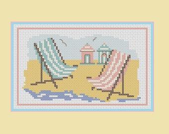 Deck Chairs and Beach Huts cross stitch pattern: beach scenes series