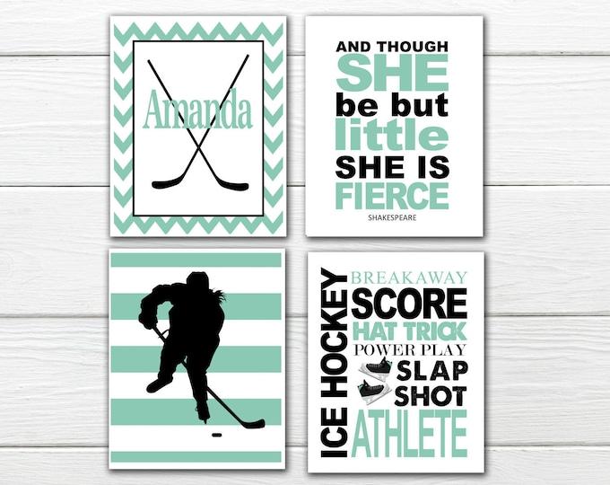 Ice Hockey - Women's  Print Set-  Personalized - Girls Ice Hockey - Canvas Available