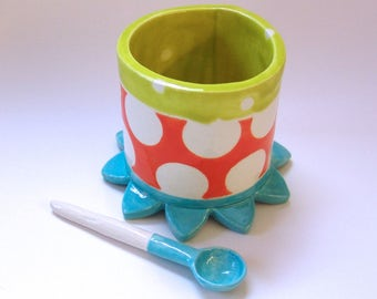 whimsical colorful pottery Serving Bowl w/ handmade ceramic spoon Turquoise, bright orange & Chartreuse polka-dots