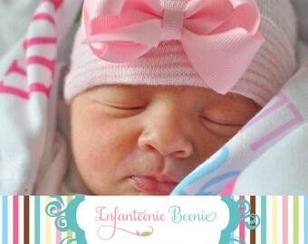Newborn hospital hat, newborn hospital beanie, newborn hospital hat with bow, baby hospital hat, baby girl hospital hat, baby hospital cap