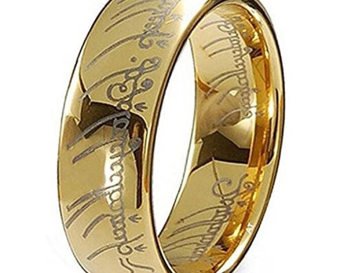 Elvish Wedding Band Ring Elvish Script 18K Gold Plated Lord Ring  Style Tungsten Carbide Men & Women Laser-etched - 7mm