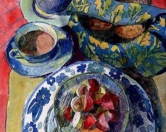 Breakfast Still Life Watercolor Mixed Media Original Art Belinda DelPesco