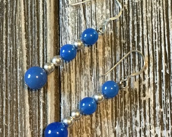 Blue onyx and sterling silver beads drop earring