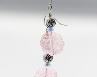 Pink Floral Earrings w/ Green Accent