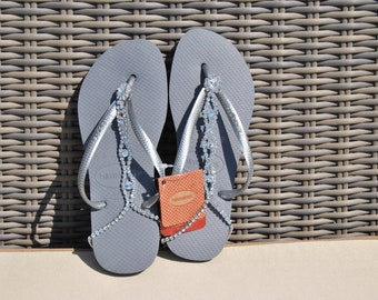 Lolabelles decorated bohemian Grey Havaianas flip flop thong sandals with Swarovski crystal adjustable ankle bracelet