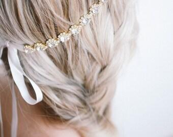 Bridal Headpiece - Gold Bridal Headpiece - Wedding Accessory - Rhinestone Headpiece - Bridal Halo - Crystal Headband - Gold Headband