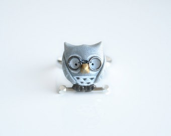 Henry the owl ring - w/ sterling silver nugget and brass bar-