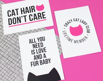 Cat gift, cat lover artwork, Crazy cat lady stationery, Set of 3 postcards, cat postcard set