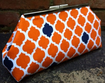Orange and Navy Tile Clutch