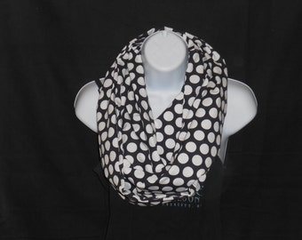 Black with White Polka Dots Infinity Scarf