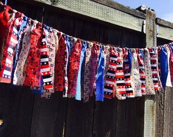 Rag Tie  Banner, Rag Fringe, PATRIOTIC 4th JULY Fabric Garland, Birthday, Nursery, Shower, Wedding, Photo Prop