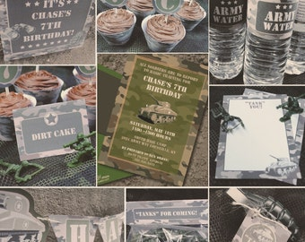 INSTANT DOWNLOAD, Army Camo Military, PRINTABLE Birthday Party Package, You Edit Yourself in Adobe Reader