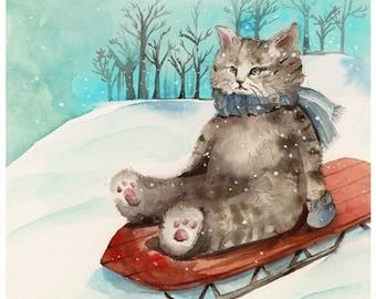 Sledding Cat - print of watercolor