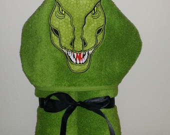 T Rex Dinosaur Hooded Towel