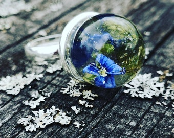 Veronica flower ring- resin jewelry- blue- something blue- blue flower ring- gift- buble ring- real flower ring- clear ring- all size ring