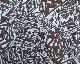 "Vintage Mid-Century Abstract Design Rich Chocolate Brown, Black and White Rayon Blend FABRIC 45"" Wide 112"" Long"