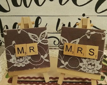 Personalised Wedding Place Name Holders, Mr and Mrs Table Decorations, Wedding Table Decorations, Top Table Decorations, Wedding Centrepiece