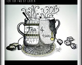 TEA Addict - Illustration - pens, inks and gold felt