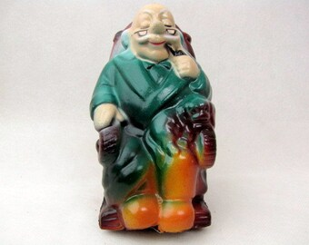 Vintage - 1960s - Grandpa Retirement Bank - Plastic - Made in Hong Kong - Air Brushed - Puppy - Kitsch - Collectible - Money Not Included