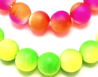 20 or 100 beads neon glass 10mm, choose colors