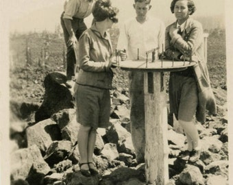 vintage photo 1926 Young Cute Flapper Group Look at Sundial on Mt Top