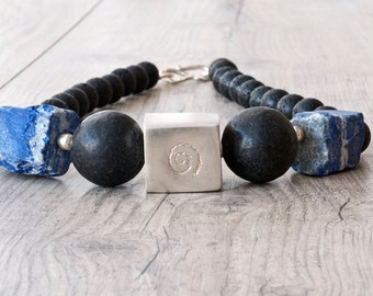 Black Lava Necklace, Big Bold Chunky Necklace with Lava Stone & Raw Blue Lapis Lazuli, Statement Necklace OOAK Necklace Unique Gift for Her