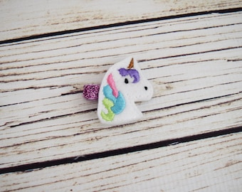 Unicorn Feltie Clip - Unicorn Birthday Favors - Unicorn Hair Bows - Unicorn Baby Girl - Baby Girl Bows - Small Baby Bows - Pastel Hair Clips