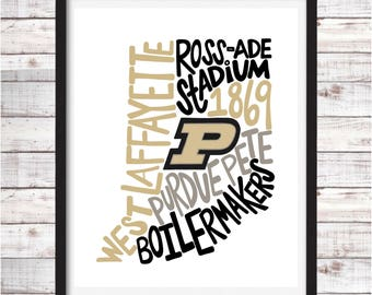 Purdue University | Printable Art | College Student Gift | College Graduation | Dorm Room Decor | Wall Art | Wall Decor