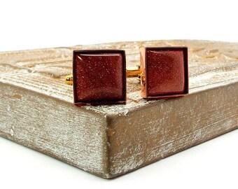 Goldstone Cufflinks, Gold Sandstone Cufflinks, Copper Brown Cufflinks