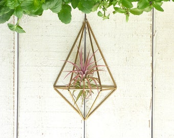 Geometric Diamond Himmeli Brass Ornament, Himmeli mobile, Himmeli Air Plant, Wall Mounted Himmeli , Geometric Diamond Himmeli