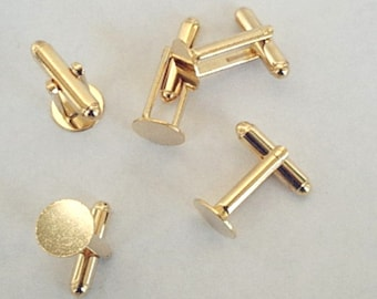 NEW 12 Gold Plated Cuff Links with Glue Pad  10mm