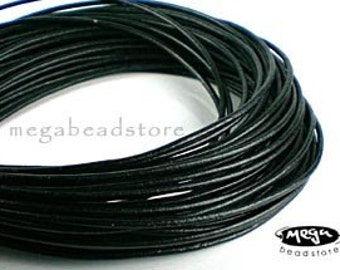 6 feet 3mm Black Greek Leather Cord for Necklace