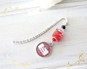 """great complainer"" Silver bookmark, red decor"