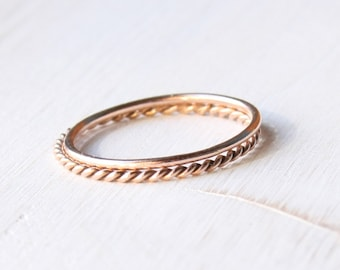 Solid 14k rose gold stacking rings, solid gold rings set, skinny rose gold rings, stackable rose gold rings handmade