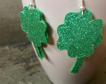 Four leaf clover earrings, St. Patricks day earrings, 4 leaf clover earrings, Green shimmer earrings, fun jewelry, gifts for her, handmade