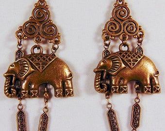 BRASS ELEPHANT EARRINGS, brass focal, brass chain, brass charm elephant charm, brass jewelry, elephant jewelry, charm jewelry,earring - 1960