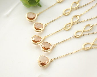 Bridesmaid gifts - Set of 7, 8, 9 - Champagne pendant necklace, infinity, lariat necklace, wedding, bridesmaid necklace, Peach necklace