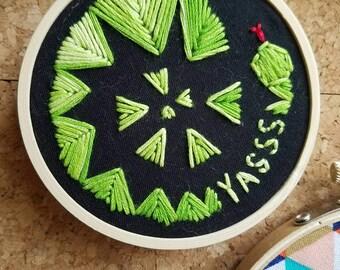 "Yasss Snake, 3"" embroidery hoop"