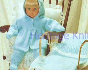 out door doll clothes set dk knitting pattern 99p