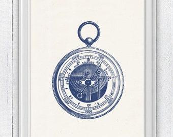Barometer  in blue -Nautical print poster - sea life tools print- Vintage illustration sea life NTC017
