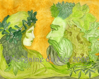 Green Woman and Green Man Together Print Nature Mythology Pagan Fantasy Beltaine Handfasting Altar Art Ink Watercolour Illustration