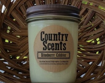 Country Scents Blueberry Cobbler 8 oz 100% Soy Wax Candle