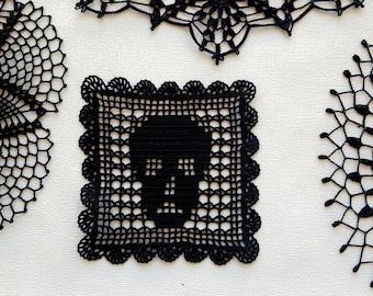 Black crochet skull doily, square doily, scary table topper, Halloween decor, black party decor, all souls handmade black lace crochet doily
