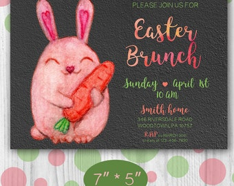 Easter bunny invitation Easter brunch invitation PRINTABLE Pink bunny Easter invite PDF JPG Custom Easter invitation digital Black invite