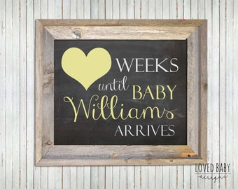 Pregnancy Countdown, Baby Countdown, Personalized, Baby gift, Gender Neutral- DIGITAL FILE, 8x10